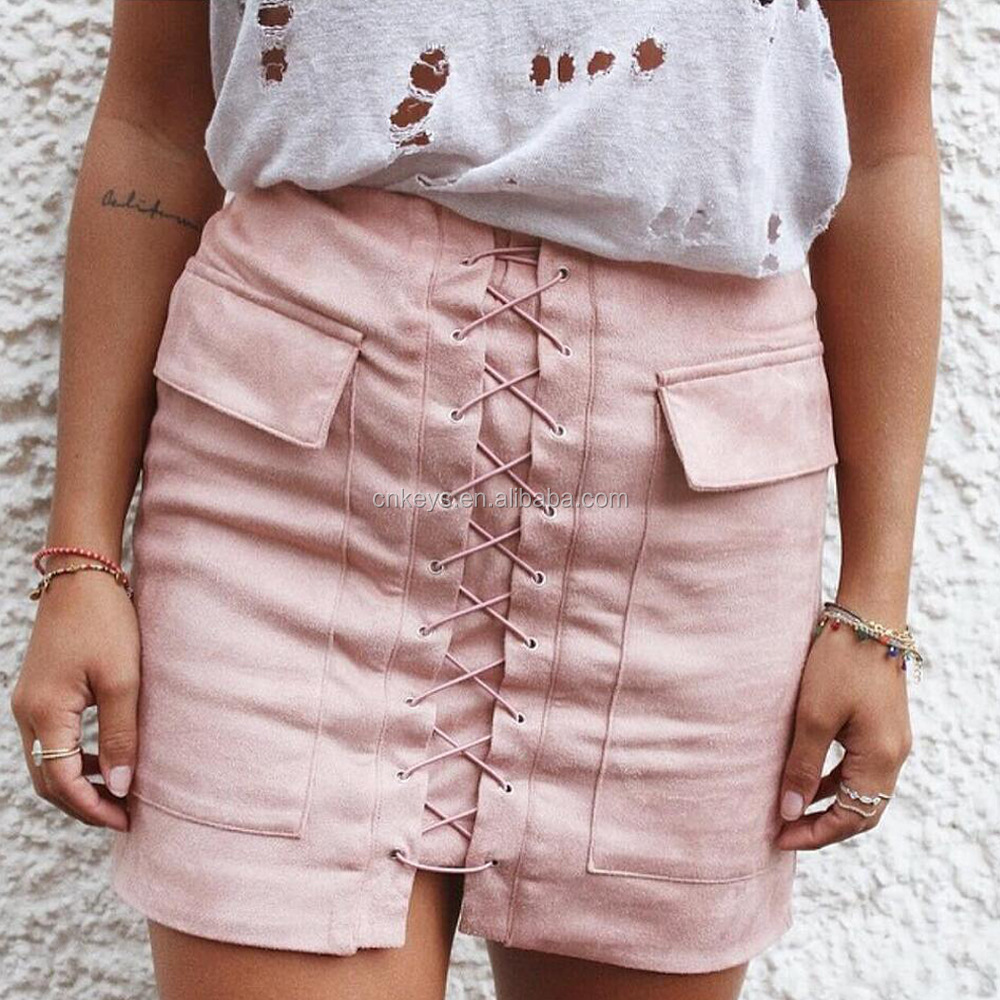 K2230A Latest Autumn Suede Skirt Lace Up High Waist Winter Pencil Bandage Skirts Women 2017