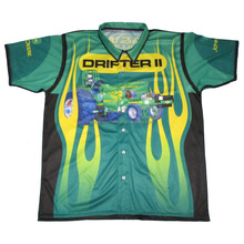 Custom button up racing shirt sublimation racing team pit crew shirts