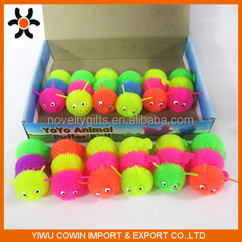 2016 new design soft puffer ball toy,TPR Worm puffer ball