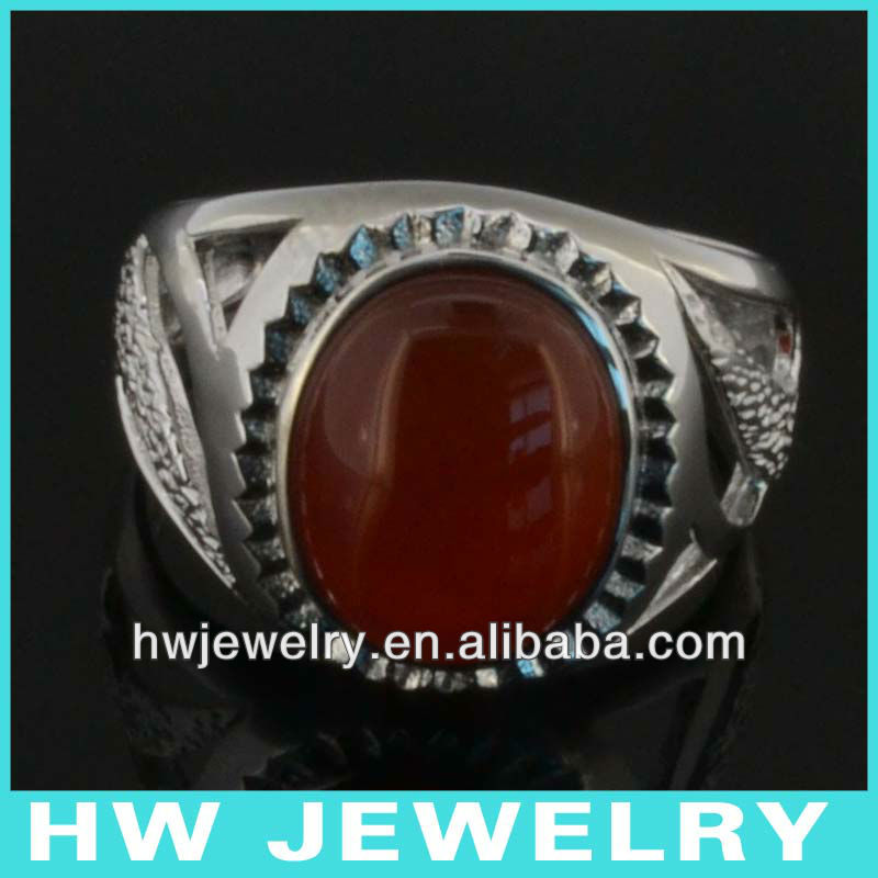 vintage 925 sterling silver men ring red agate aqeeq gemstone silver rings