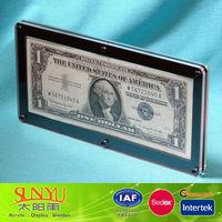 Single Bank Note Frame Acrylic Money Holder /Money Frame Display /Acrylic Display Money Box