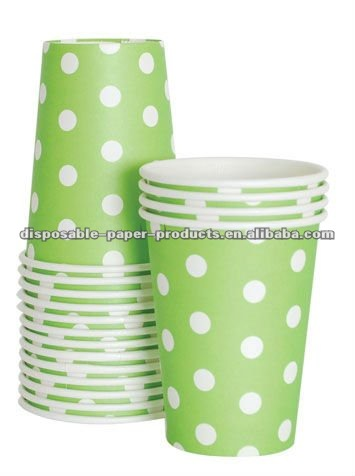 polka dot paper party Tableware manufacturer Dots Spotted Spotty Spots Spot Polkadots Lime Green Polka Dot Cups 9oz
