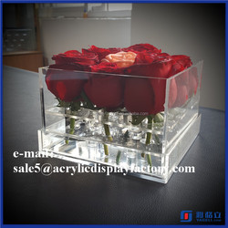 Crystal clear acrylic flower boxes / lucite gift case / plexiglass decorative flower display container