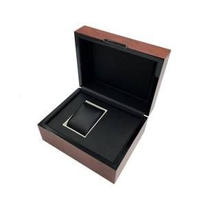 Custom logo high gloss finish rectangular mens wood watch case