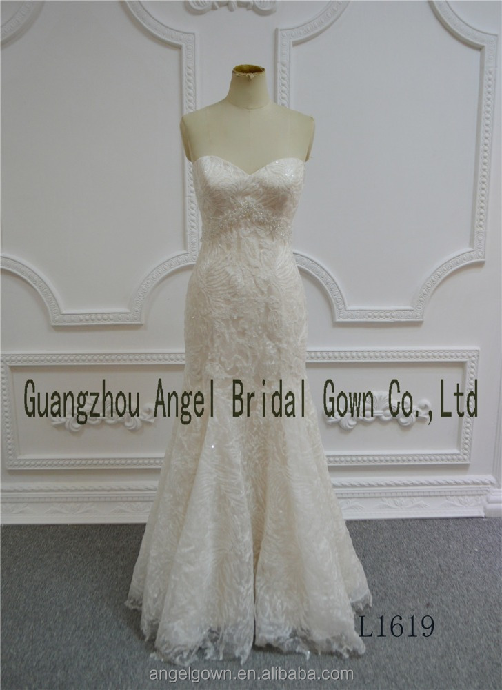 Whole price beading lace champagne custom made bridal dress