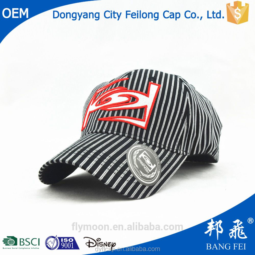 Black and white vertical stripes TC fabric baseball cap with applique embroidery logo