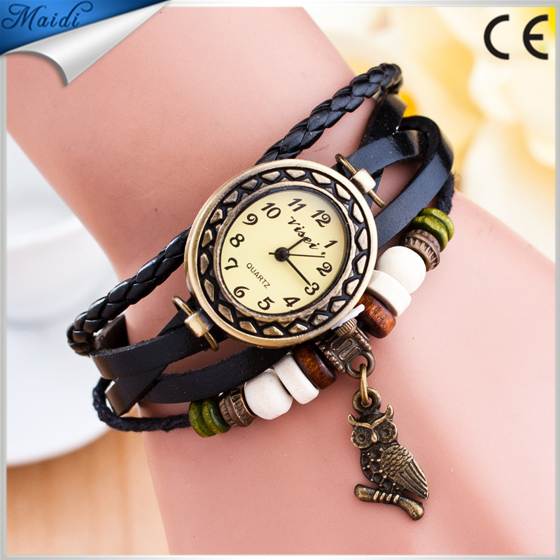 China Relojes Mujer 2016 Fashion Women Casual Leather Weave Wrap Wrist OWL Watch Charm Bracelet Watches VW021