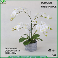 Manufacture Wholesale handmade white artificial orchid flower, fabric fake flowers