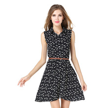 New design wholesale printed t shirt dress cute cat pattern breathable sleeveless casual women dresses with belt