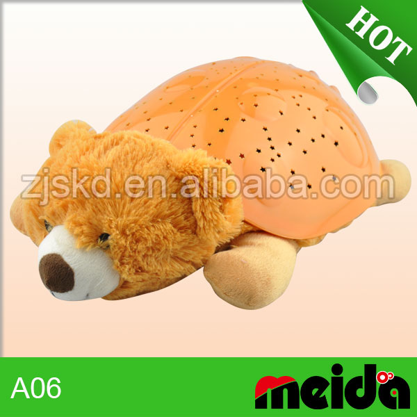 Wholesale quality kids night light projector bear shaped plush toy animals