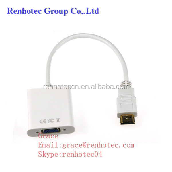 White HDMI Male to VGA Female Adapter Cable