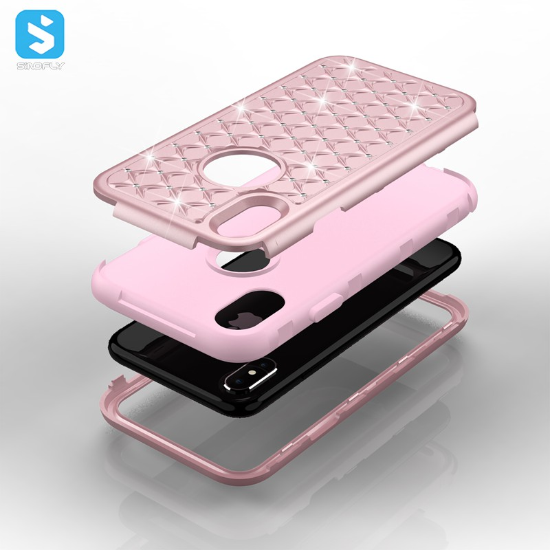 Bling Silicone PC TPU Combo Phone Case for iPhone X