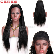 synthetic braided wig afro full senegal braided lace front wig hand braided wig for black women