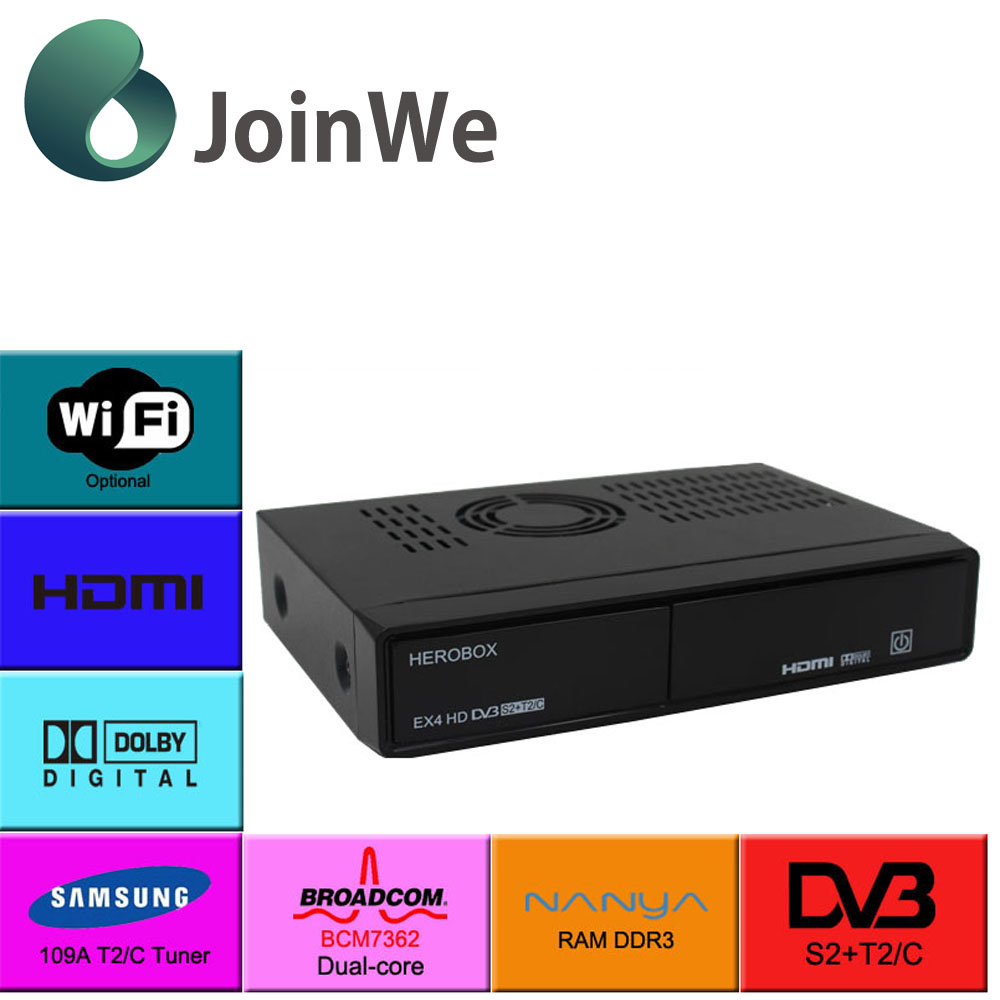 In factory sales promotion Herobox EX4 BCM7362 DVB-S2+T2/C Linux OS Enigma2 IPTV BOX Support USB WIFI EX 4 satellite receiver