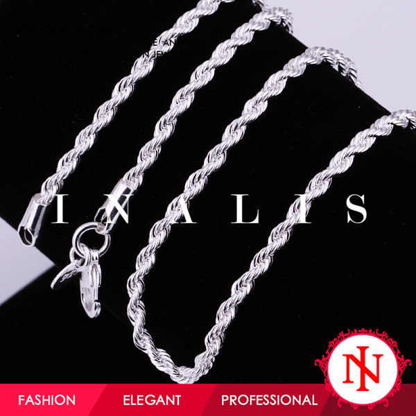 2014 925 silver plated twist hip hop rope chain C014