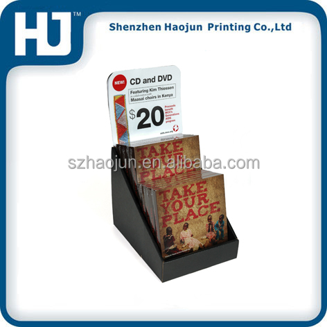 Retail store portable corrugated cardboard floor display stand / boxes for cd/dvd product