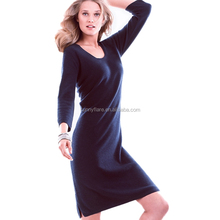 Women's 2017 New Dresses Pure Cashmere Knitting Deep V Neck Sexy Dress