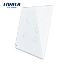 Livolo White 125mm*125mm US standard Double Glass Panel For Sale 5 Gang Wall Touch Switch VL-C5-C2/C3-11