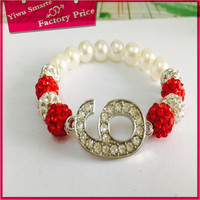 latest fashion Sales Promotion new style 10mm Crystal red Clay Disco Ball shamballa beads bracelet with crystal for boys