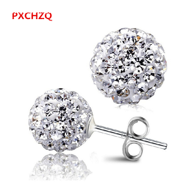 Ms. New Products super-popular classic sterling silver stud earrings shiny rhinestone Stud Earrings one pair of price Shambhala