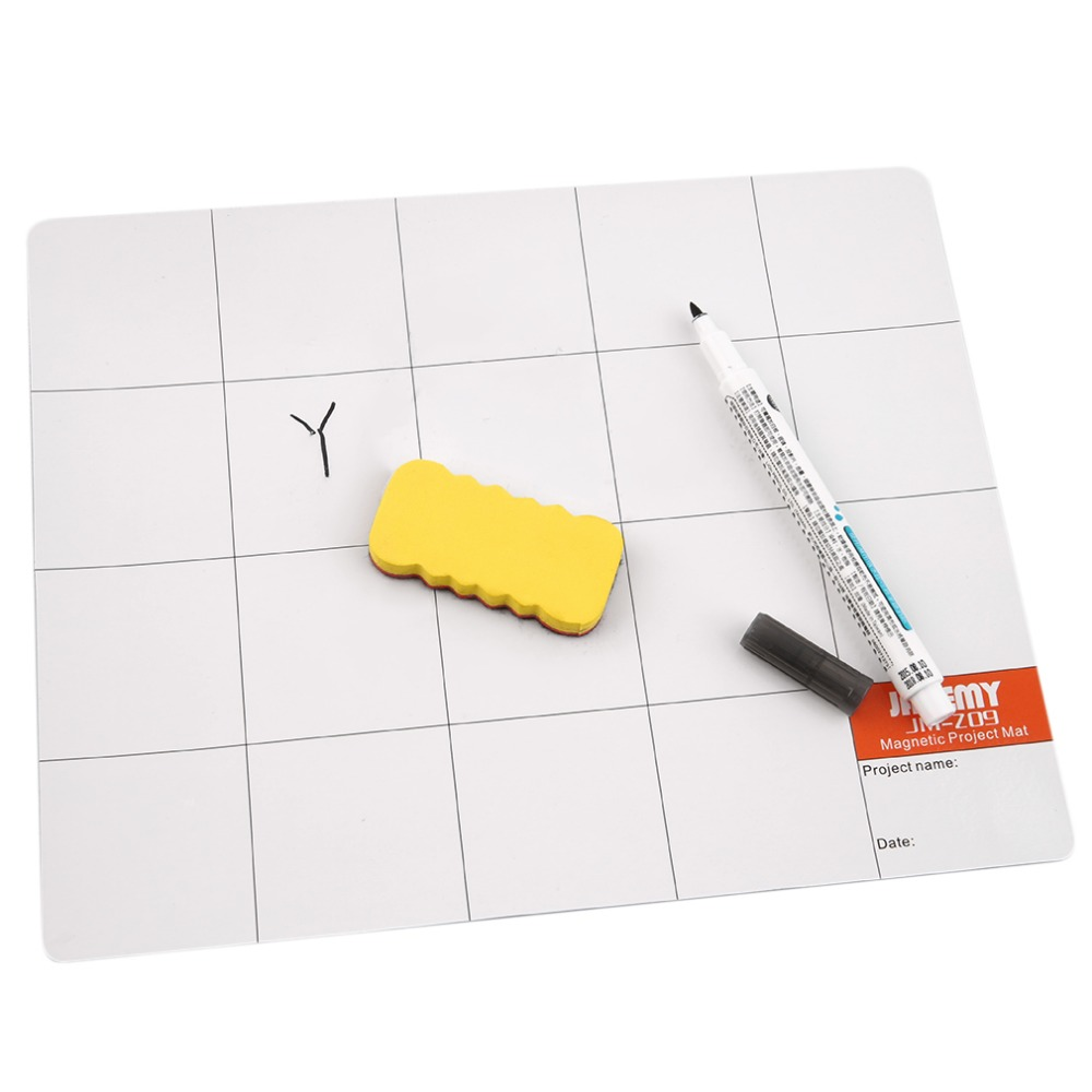 Magnetic Project Mat Plaid Aid Tool w/Marker Pen Mobile Phone Repair