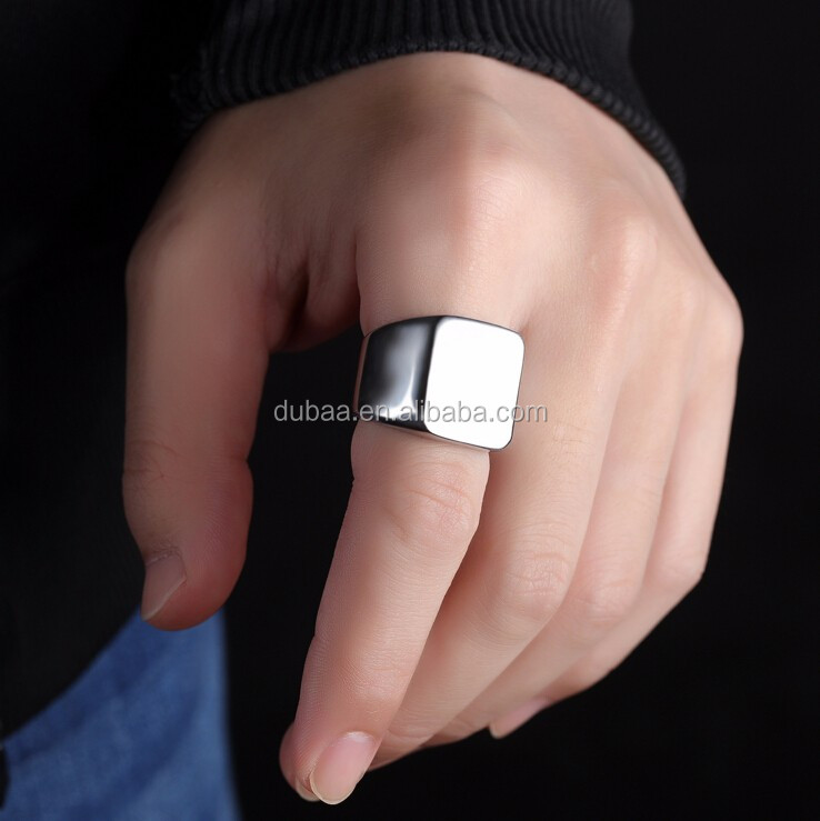 Vintage Style Stainless Steel Biker Rings for Men Bands Polished Ring Size 7-11