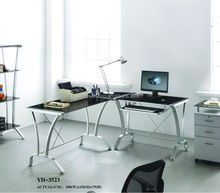 black corner tempered glass 2 person office computer desk