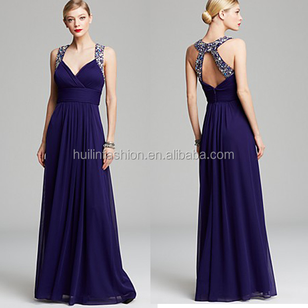 Gown - Ruched Chiffon Beaded Straps Chiffon Flowing Long Beautiful Evening Dresses