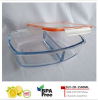 New!Promotional gift 1500ml rectangular pyrex glass food storage container with compartment for household items