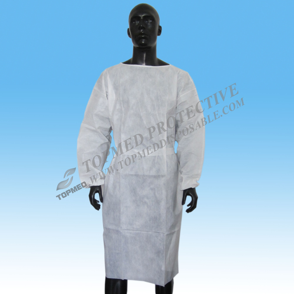 Disposable PP Nonwoven White Medical Surgical Gown