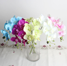 Realistic seven head mini moth orchid artificial silk flowers