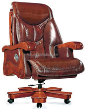 Dubai Luxury Design Ergonomic Leather PU Big Boss CEO Executive Office Chair with Wooden Base ( FOH-A1221)