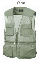 Mens Sleeveless Utility Multi Pockets Zip Hunting Fishing Hiking Vest Waistcoat