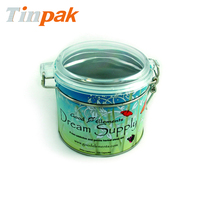 custom vintage round metal tea canister with latch cover