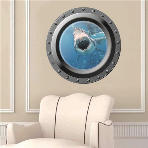 Removeable PVC 3D wall sticker 3D porthole wall paper shark vivid home decor(<strong>W003</strong>)