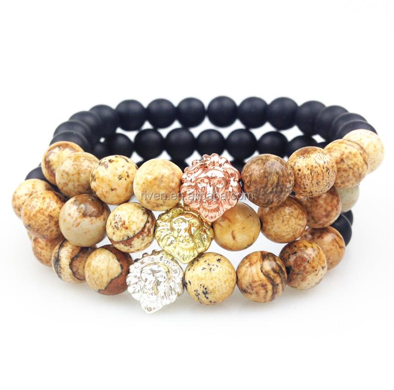 SN0352 Men Beaded Bracelet Fashion Jasper Stone Bracelet With Lion Head gold rose gold silver plated Matte Black Onyx Bead Bracelets.JPG