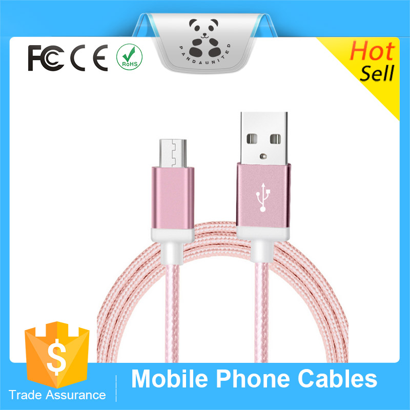 Original Fashion Nylon Line and Metal Plug Micro USB Cable for iPhone Multi Color Available