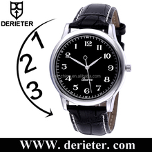 Custom Logo Leather Strap Men Anticlockwise Backward Counter Clockwise Watch