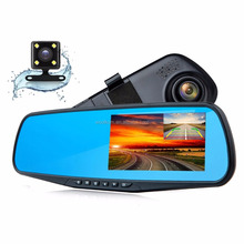 "Dash Cam 1080P Full HD 4.3"" LCD Rearview Mirror Car Video Recorder Dual Lens Vehicle Camera Car DVR"