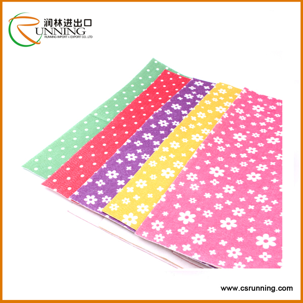 colorful DIY non woven fabric wholesale felt printed polyester felt
