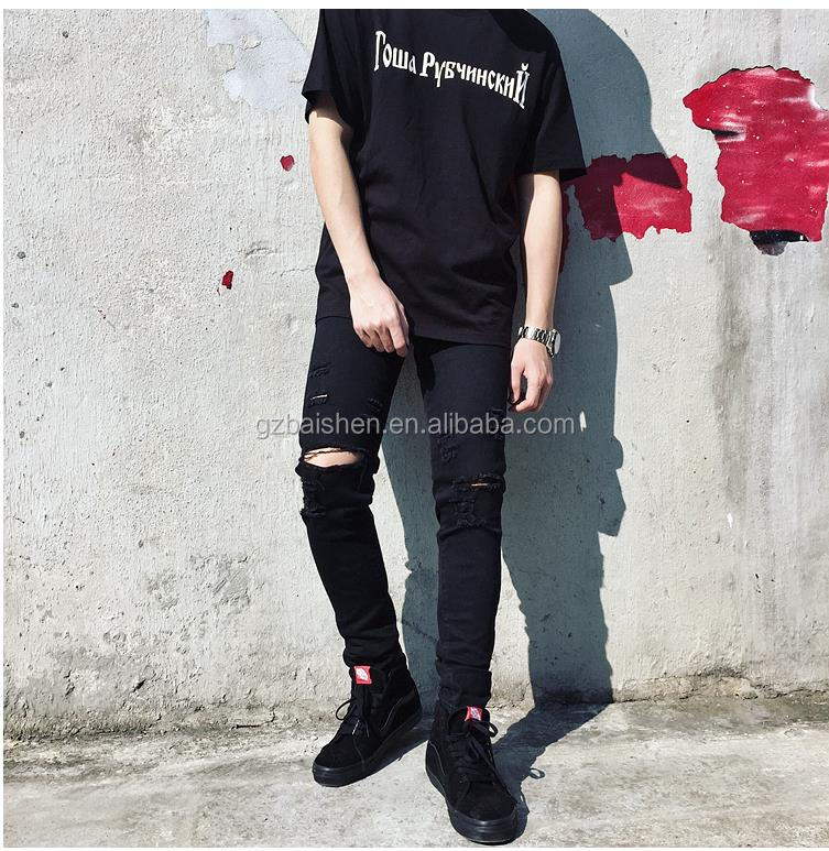 New style custom wholesale washed ripped jeans skinny damaged denim jeans for mens