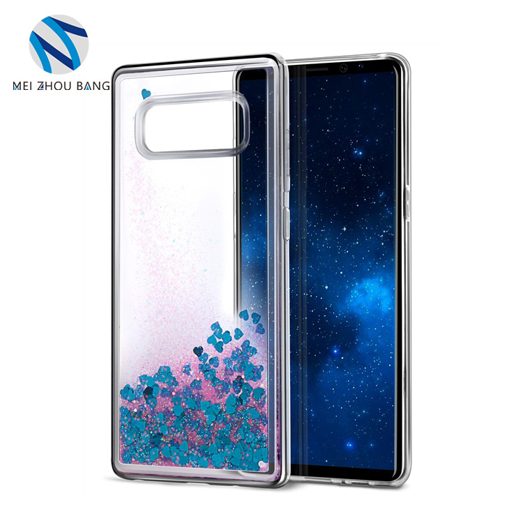 MEI ZHOU BANG TPU love heart quicksand Cell phone case for Samsung note 8