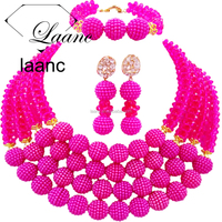 Womens Hot Pink 4 Rows 6mm Crystal Imitation Peals Nigerian Beads African Wedding Party Jewelry Sets