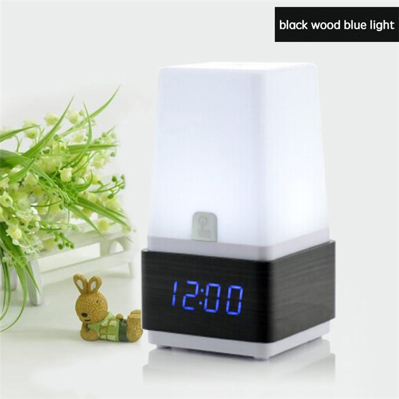 Modern design nigh light version LED table alarm clock on sale