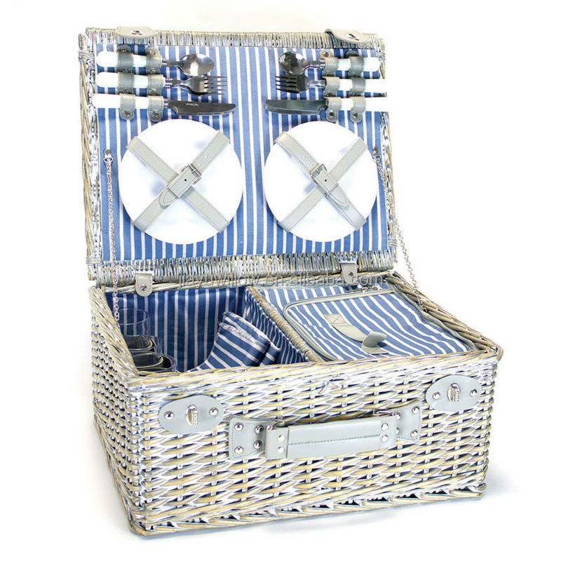cheap wicker pinic basket square wicker picnic hamper for 6 people