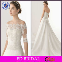 EDW528 Beautiful Lace Detachable Skirt with Train Corset Two-Piece Wedding Gown