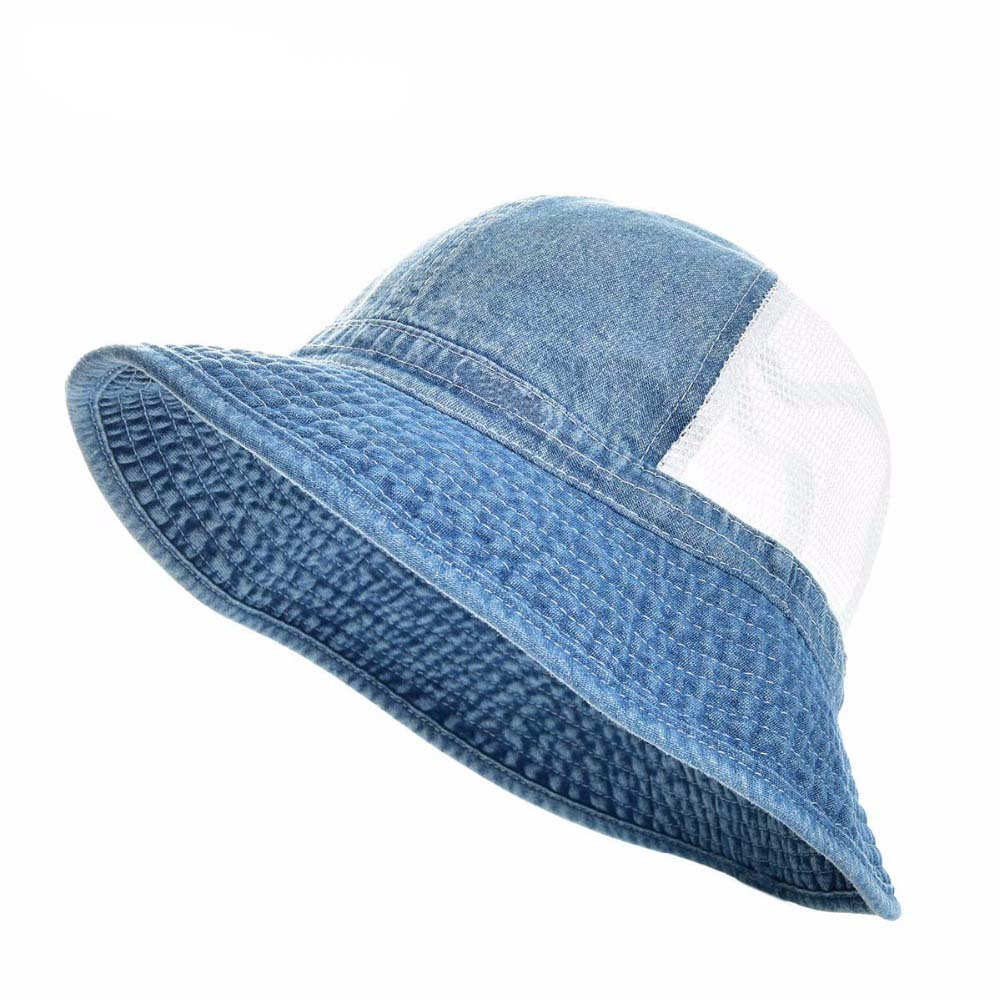 Summer Denim Soft Mesh Panama Bucket Hat Boy Girl Baby Fishing Cap Fisherman Unisex Hats