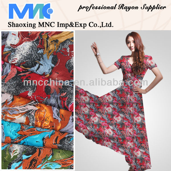MR16003BP hot selling popular 100%rayon print fabric with metallic