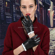 Hot sale product 100% lamb skin keep warm women leather driving glove