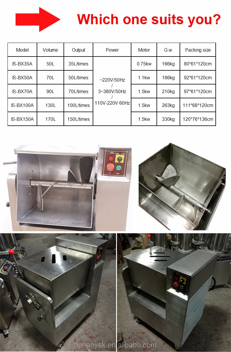 50L Commercial stainless steel medical equipment meat drying equipment Mixer For Sale